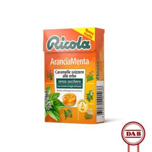 RICOLA__Arancia-Menta__CARAMELLE-Svizzere-alle-erbe_senza-zucchero__DAB-srl__PRODOTTO__