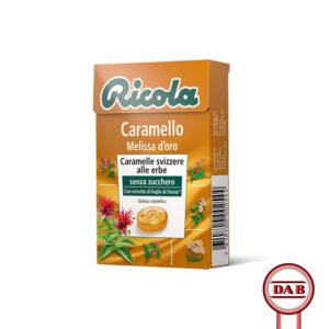 RICOLA__Caramello-e-Melissa-d'oro__CARAMELLE-Svizzere-alle-erbe_senza-zucchero_DAB-srl_PRODOTTO_