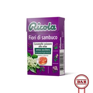 RICOLA__Fiori-di-Sambuco__CARAMELLE-Svizzere-alle-erbe_senza-zucchero__DAB-srl__PRODOTTO__